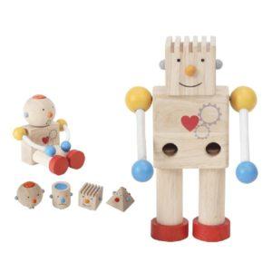 деревянный конструктор робот plan toys