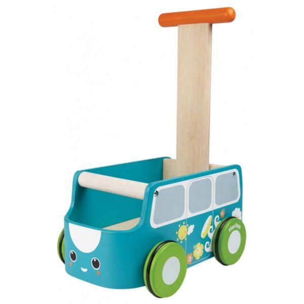 машинка каталка голубая plan toys