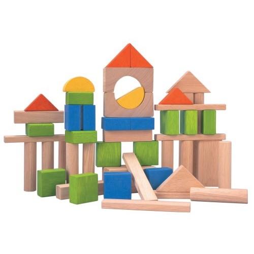 деревянный конструктор разноцветные блоки plan toys