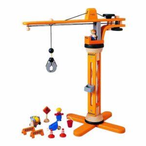 подъемный кран деревянный plan toys